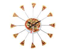 """Часы для кафе """"Пицца"""" / Металл + пластик / Шелкография"""