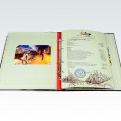 Папка меню на кольцах из картона / Цифровая печать / Матовая ламинация / Кашировка / Кольцевой механизм + Бумага / Цифровая печать