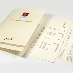 Картонная папка меню / Цифровая печать / Матовая ламинация / Тесьма
