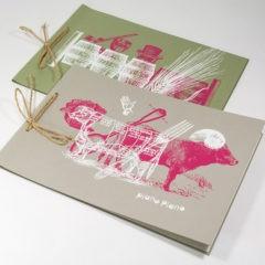 Папка меню из дизайнерского картона / Шелкография 2 цвета / Бечевка