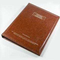 Кожаная папка меню / Тиснение золотой фольгой / Крепление на кольцах