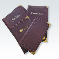 Папка меню для кафе из кожзама / Тиснение золотой фольгой + блинтовое / Металлические уголки
