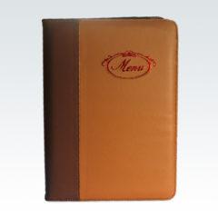 Папка меню из комбинированного кожзама / Скругление углов / Тиснение красной фольгой / Крепление на болтах