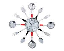 """Часы для ресторана """"Ложки-вилки"""" / Металл + пластик / Шелкография"""